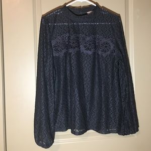 Dark Grey Sheer Lace Top